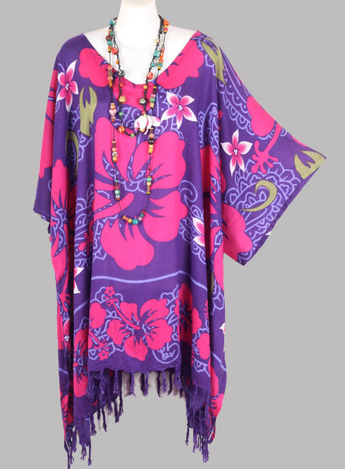 neue damen rosa lila hibiskus blumen kaftan tunika strand hippie gr 54 56 58 ebay. Black Bedroom Furniture Sets. Home Design Ideas